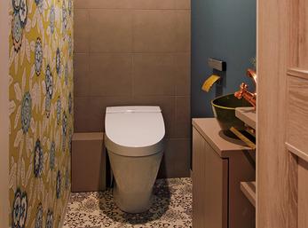 空間を快適にする素材をトイレにも用いてリノベーション