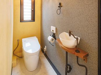 手洗いの配水管までお洒落なアクセントに